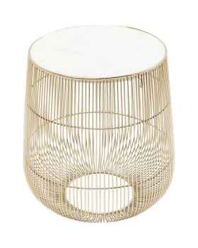 Приставной столик Beam White Marble Brass Ø32cm