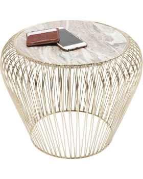 Приставной столик Beam Grey Marble Brass Ø43cm