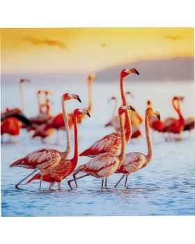 Картина на стекле Flamingo Family 80x80