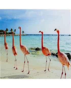 Картина на стекле Flamingo Walk 80x80
