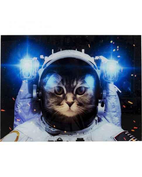 Картина на стекле Cat in Space 80x60