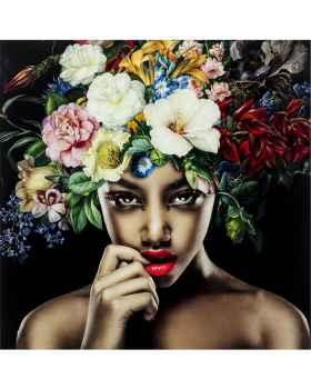 Картина на стекле Pretty Flower Woman 100x100