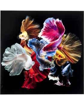 Картина на стекле Colorful Swarm Fish 120x120