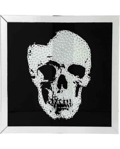 Картина в стеклянной раме Mirror Skull 100x100cm
