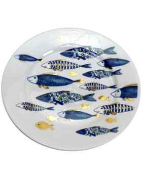 Тарелка Blue Fish gold edition